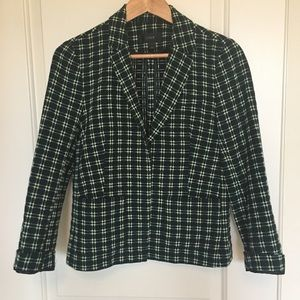 J. Crew shrunken blazer in embroidered plaid sz M